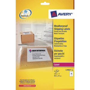 Avery Weatherproof White Parcel Label 99.1 x 57mm 10 Per Sheet (250 Pack) L7992-25