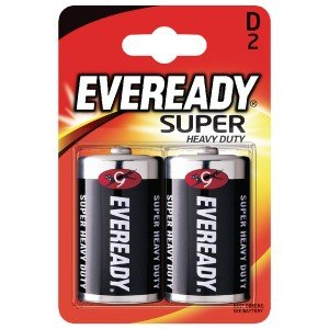 Eveready Super Heavy Duty Size D Batteries (2 Pack) R20B2UP