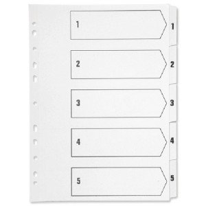 Q-Connect Index A4 Multi-Punched 1-5 Polypropylene White KF01352