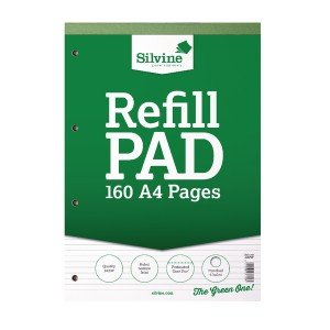 Silvine Refill Pad A4 Punched 4 Hole Headbound 80 Leaf Ruled Narrow Feint (6 Pack) A4RPNF