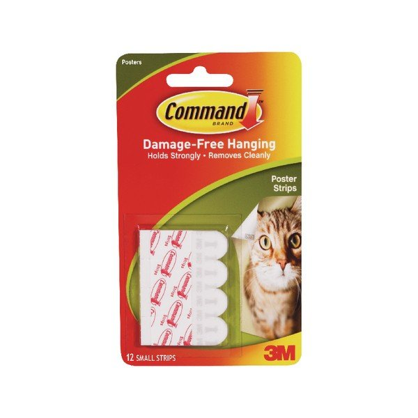 3M Command Adhesive Poster Strips Small (12 Pack) 17024 ...