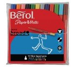 Berol Assorted Water-Based Colourbroad Pen Wallet (12 Pack) S0375990