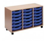 Jemini Mobile Beech Storage Unit 18 Blue Trays KF72340
