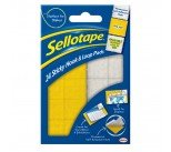 Sellotape Yellow/ White Sticky Loop and Hook Pads (24 Pack) SE4542
