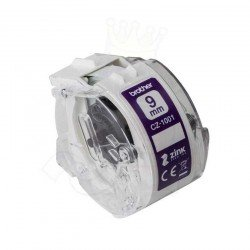 Brother CZ1001 9mm Continuous Purple on White Tape (5 Meters)
