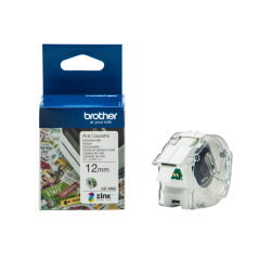 Brother CZ1002 12mm Continuous Green on White Tape (5 Meters)