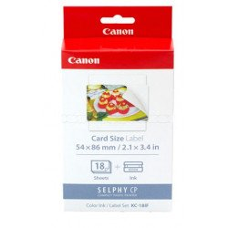 Canon 7741A001 KC-18IF Ink + Label Set - 18 Sheets (Card Size / 54x86mm / 2.1x3.4in) 7741A001AH