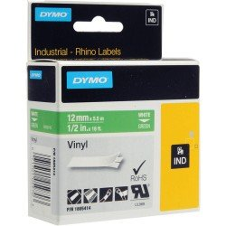 DYMO Rhino 1805414 - 12mm x 5.5m - White on Green Vinyl Tape