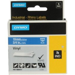 DYMO Rhino 1805417 - 19mm x 5.5m - White on Blue Vinyl Tape