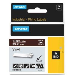 DYMO Rhino 1805418 - 19mm x 5.5m - White on Brown Vinyl Tape