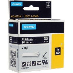 DYMO Rhino 1805436 - 19mm x 5.5m - White on Black Vinyl Tape