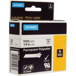 DYMO Rhino 1805442 - 6mm x 5.5m - Black on White Permanent Polyester Tape