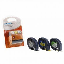DYMO S0721790 12mm x 4m - Black on White Paper, Yellow Plastic, Silver Metallic (3 Pack) Tapes