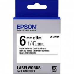 Epson 6mm LK-2WBN Black on White Tape (9 Meter Roll) C53S652003