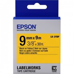 Epson 9mm LK-3YBP Black on Yellow Tape (9 Meter Roll)