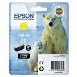 Epson T2614 Standard Yield 26 Yellow Ink Cartridge (4.5ml) C13T26144010