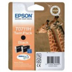 Epson T0711H High Yield Black Ink Cartridge Twin Pack (2x 11.1ml) C13T07114H10