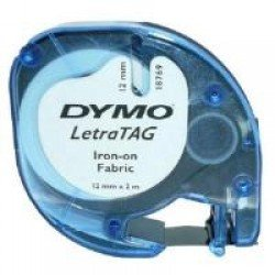 DYMO S0718850 12mm x 2m - Black On White Iron-On Tape