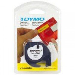 DYMO S0721610 12mm x 4m - Black on White Plastic Tape