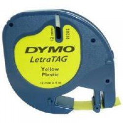DYMO S0721620 12mm x 4m - Black on Yellow Plastic Tape