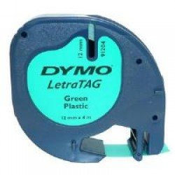 DYMO S0721640 12mm x 4m - Black on Green Plastic Tape