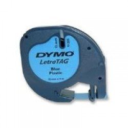 DYMO S0721650 12mm x 4m - Black on Blue Plastic Tape