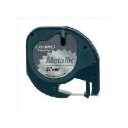 DYMO S0721730 12mm x 4m - Black On Metallic Silver Tape