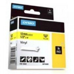 DYMO Rhino 18432 - 12mm x 5.5m - Black on Yellow Vinyl Tape