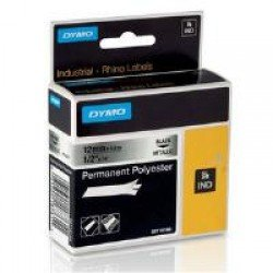 DYMO Rhino 18486 - 12mm x 5.5m - Black on Metallic Permanent Polyester Tape