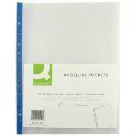 Q-Connect Punched Pocket A4 Deluxe Top Opening Blue Strip (25 Pack) KF01122