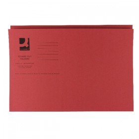 Q-Connect Red Square Cut Folder Medium Weight 250gsm Foolscap (100 Pack) KF01186