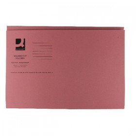 Q-Connect Pink Square Cut Folder Medium Weight 250gsm Foolscap (100 Pack) KF01187