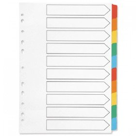 Q-Connect Index A4 Multi-Punched 10-Part Reinforced Multi-Colour Blank Tabs KF01526