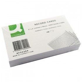 Q-Connect Record Card 5x3 Inches Ruled Feint White (100 Pack) KF35204